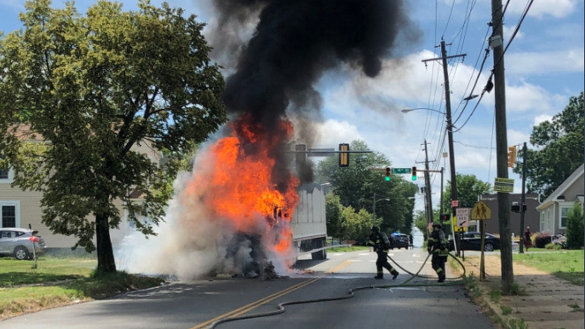 A tractor trailer cab was fully engulfed in flames when the Richmond Fire Department responded...
