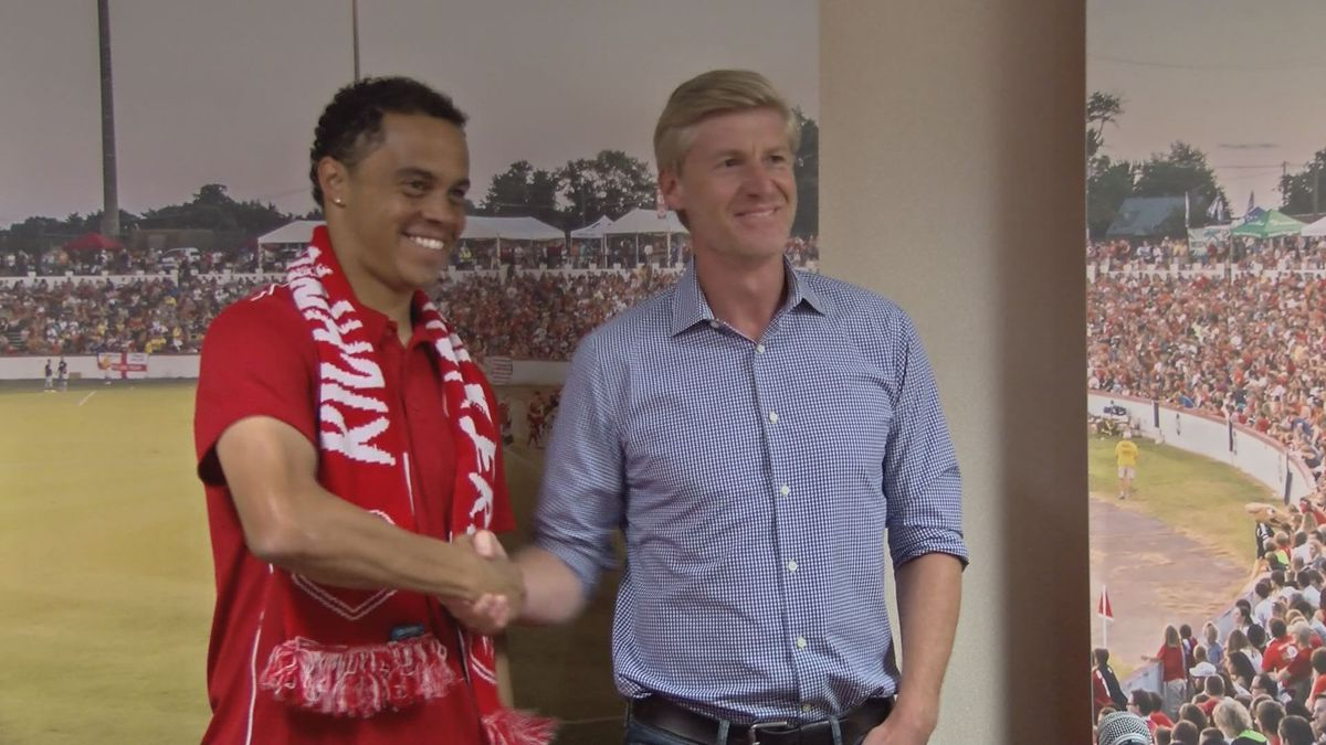 David Bulow (left) is introduced as the Richmond Kickers' head coach in the summer of 2018....