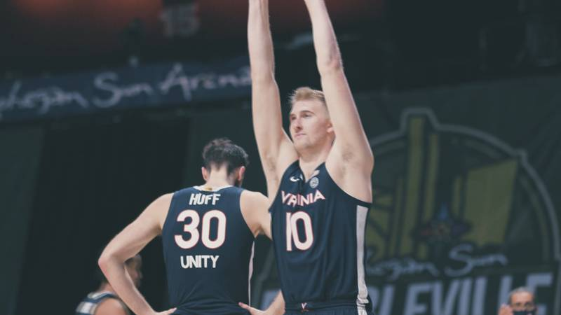 Jay Huff and Sam Hauser react to UVA's 61-60 defeat
