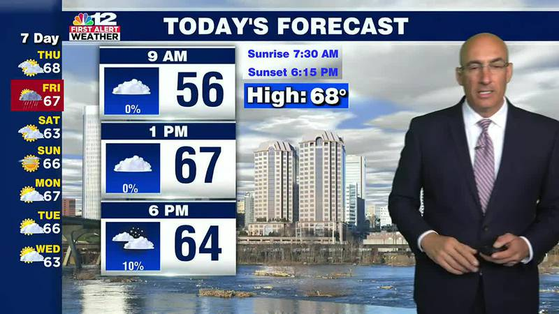 Thursday Forecast:  A pleasant day with increasing clouds.  Heavy rain tonight and Friday...