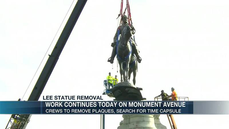 Lee statue plaque removal, new time capsule