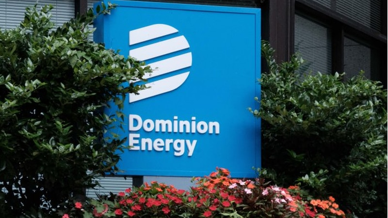 A sign outside of a Dominion Energy office building in downtown Richmond.