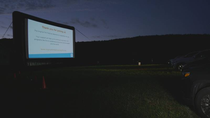Cars line up for a drive-in movie at the Virginia Film Festival