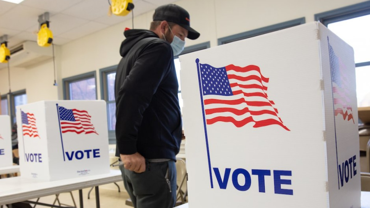 Voters at a polling station in Buckingham County,, Nov. 3, 2020.