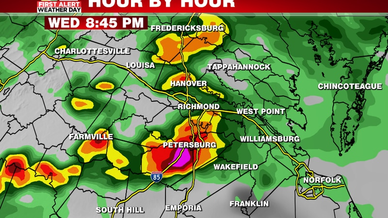 One model shows heavy rain & storms still passing south of I-64 by 9pm