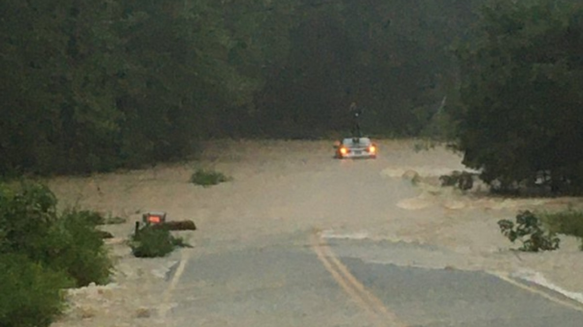 A Chesterfield water rescue team saved a person from the roof of their vehicle on Otterdale...
