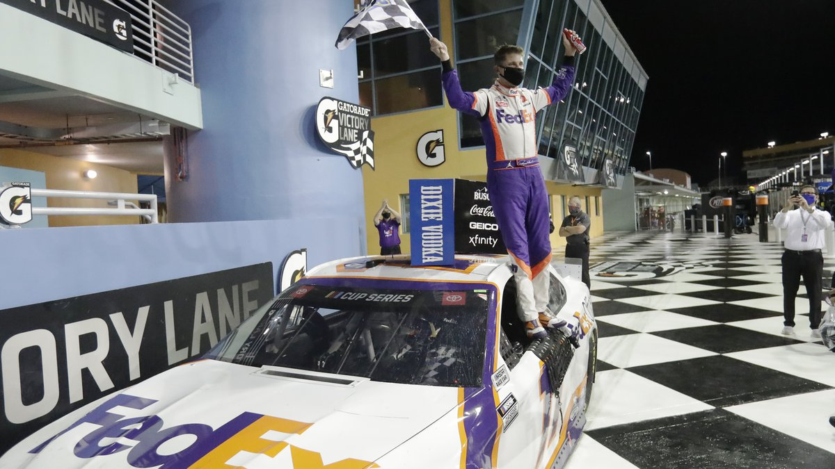 Denny Hamlin celebrates after winning a NASCAR Cup Series auto race Sunday, June 14, 2020, in...