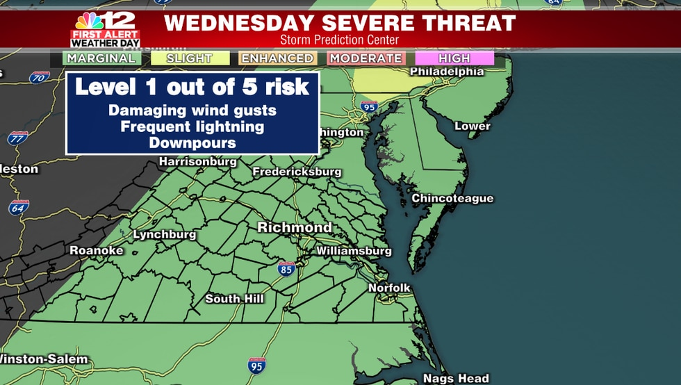Damaging wind gusts are the primary concern with any thunderstorms that develop Wednesday...