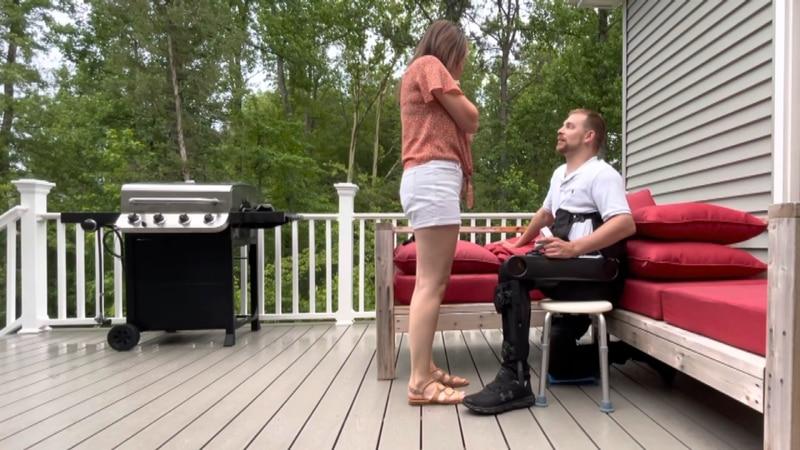 A paralyzed Richmond man uses an exoskeleton to propose to his girlfriend.