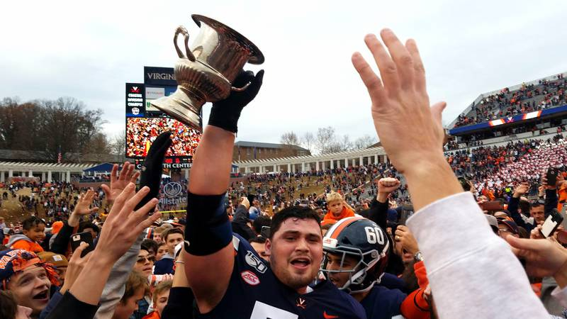 The UVA football team beat Virginia Tech 39-30 to end a 15-year drought in 2019.