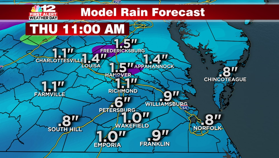 Rainfall amounts could reach greater than 1 inch in a few spots with the rain Wednesday...