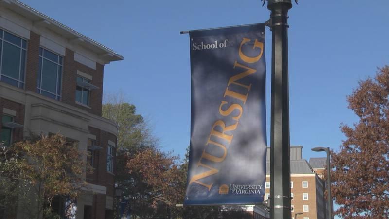 UVA's School of Nursing flag.