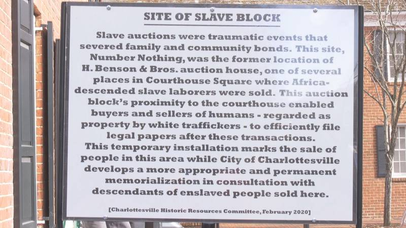 A proposed sign at the site of a former Charlottesville slave auction block.