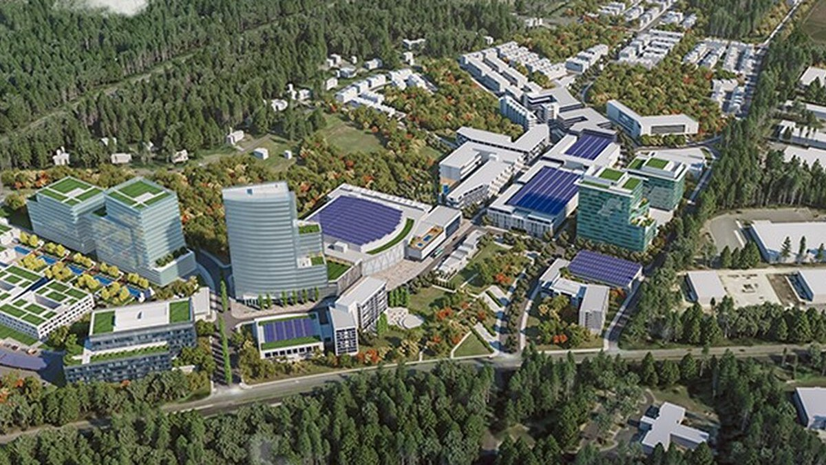 The privately funded project would include a new arena, parks, trails, retail space, housing...
