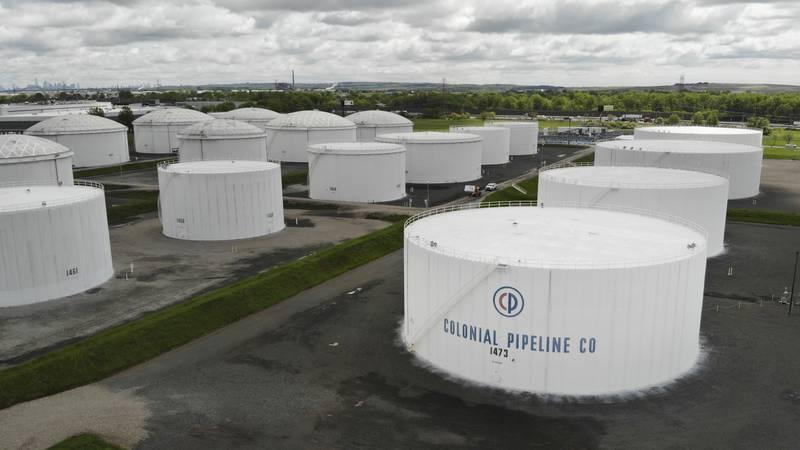 Colonial Pipeline storage tanks are seen in Woodbridge, N.J., Monday, May 10, 2021.