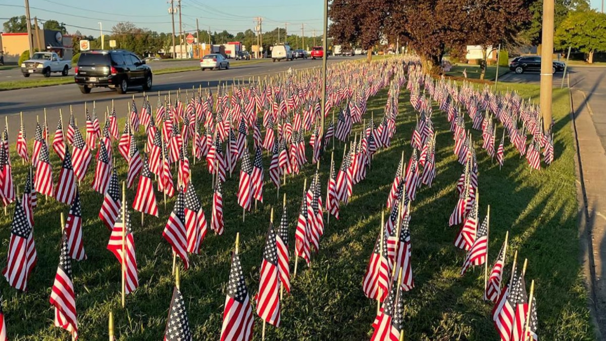 Flags placed in front of Mechanicsville High School honoring victims of 9/11.