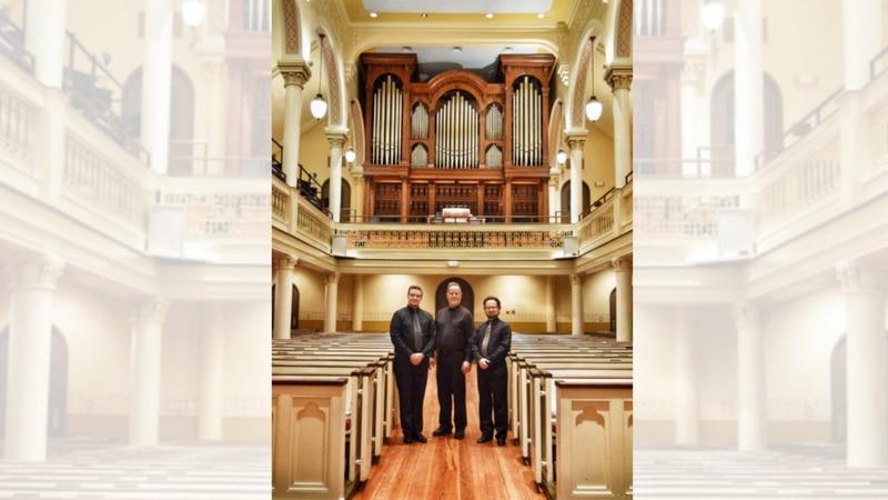 The Organists of St. George's (left to right – Achim Loch, John Vreeland, Trystan Bennett)