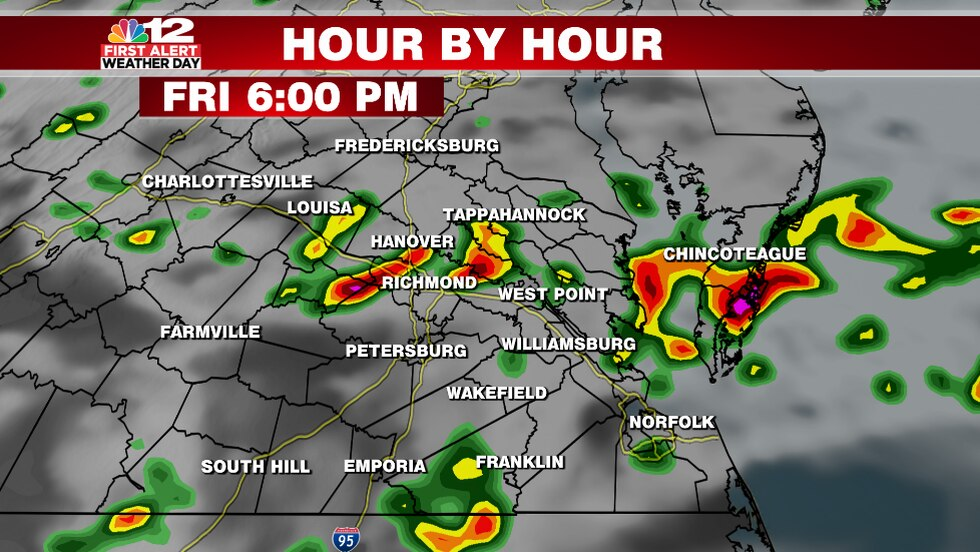 The hour by hour forecast shows scattered strong to severe storms late Friday afternoon into...