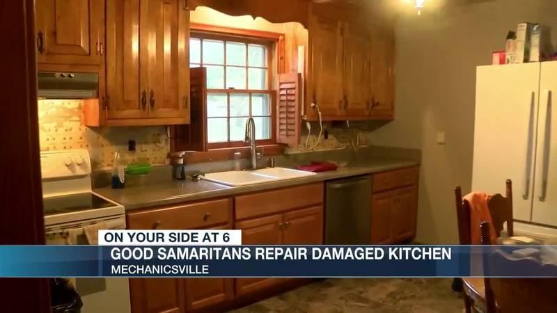 Good Samaritans repair damaged kitchen for grieving, disabled woman.