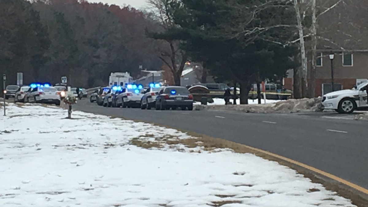 A large police presence was on the scene early afternoon on Thursday.
