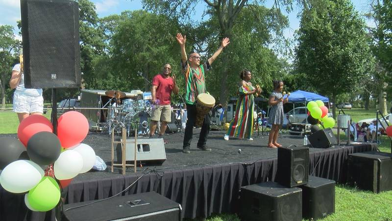Performers sang and played drums during the Juneteenth Jubilee in Richmond.