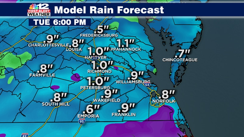 Rainfall amounts will likely reach more than 1 inch across Central Virginia on Tuesday.