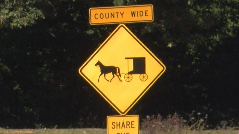 Signs in Cumberland County to warn drivers of horse and buggy's in roadways.