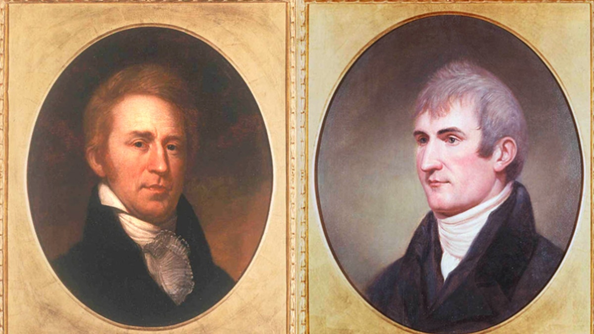 Portraits of William Clark (left) and Meriwether Lewis (right), by Charles Willson Peale, 1807