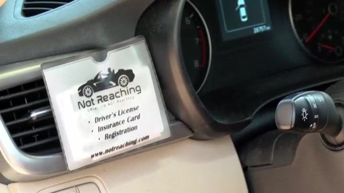 A 'Not Reaching' pouch holds your documents by the steering wheel. (Source: notreaching.com)