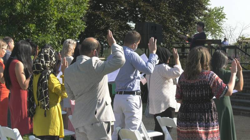 Monticello hosted a naturalization ceremony for 21 new American Citizens