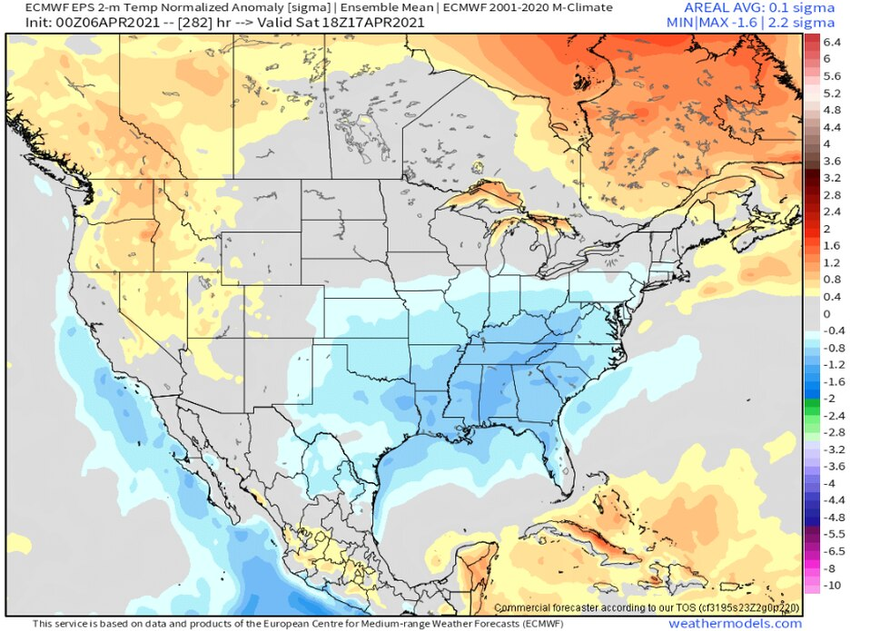 The European forecast model ensemble shows cooler than average temperatures (in blue) across...