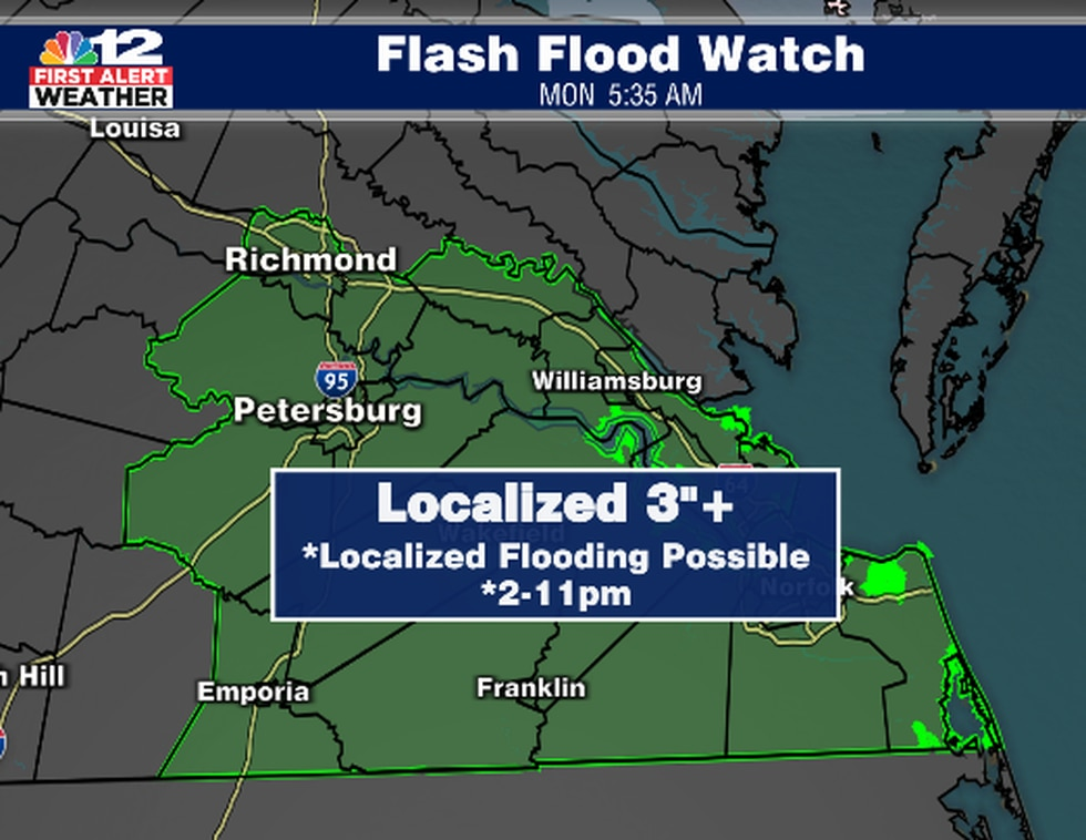 """3"""" rain is possible this afternoon and evening which could cause"""