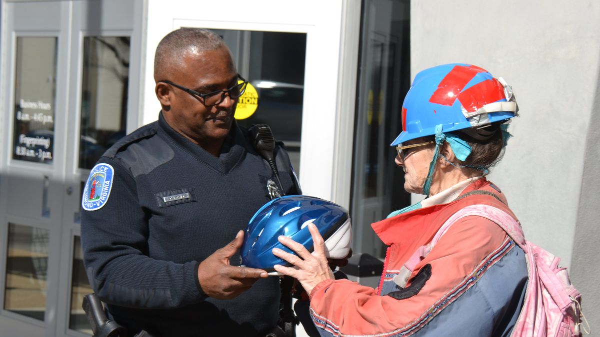 Some members of the Richmond Police Department gifted Jill a new bicycle as well as a new helmet.