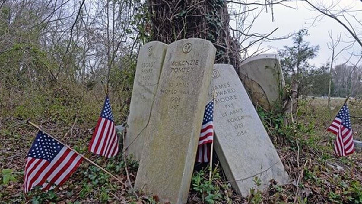 Recovered headstones belonging to veterans at Evergreen Cemetery in Richmond.