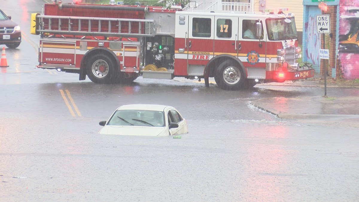 A man had to be rescued from the submerged vehicle after late afternoon rainstorms caused flash...