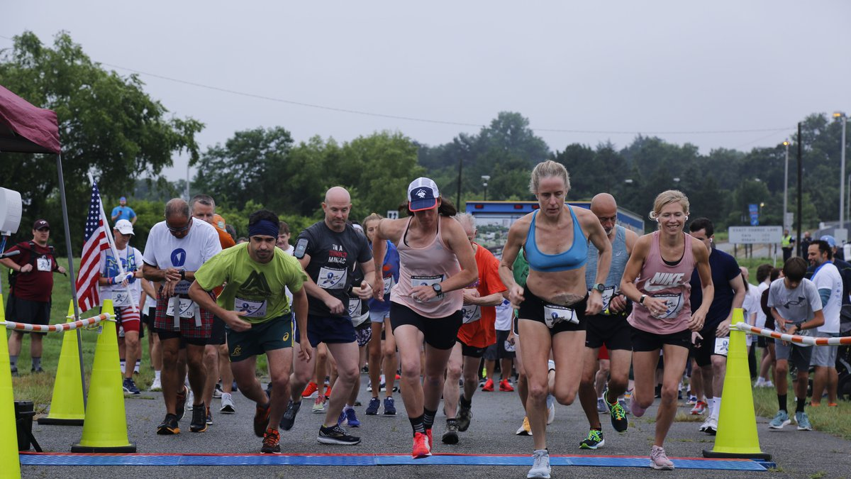 Runners at City Stadium begin the ninth Annual Boxer Brief 5K on Saturday.