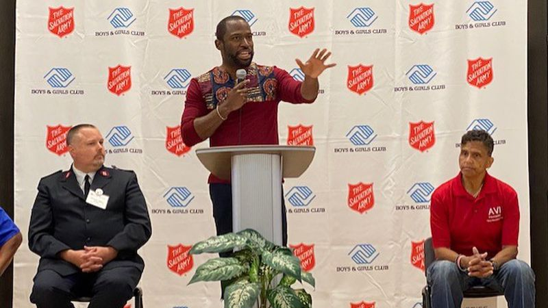 Mayor Levar Stoney speaks at the Salvation Army Boys and Girls Club's Alumni Day.