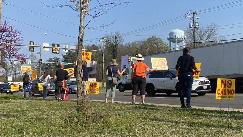 A protest is underway in the Stratford Hills area to oppose a casino proposal to be built near...