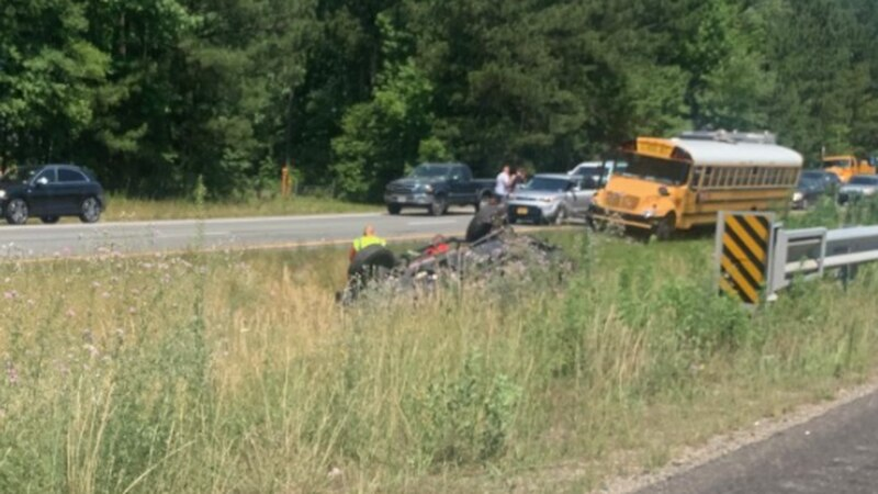 A vehicle has overturned in the median along VA-288 south in Chesterfield.