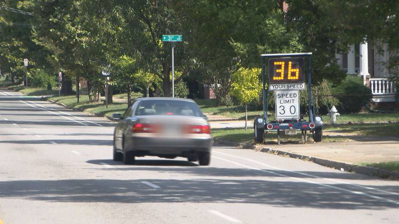 Speed wagon installed on Semmes Ave. to help slow down drivers.