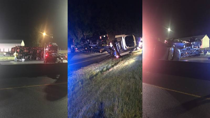 A tractor-trailer crash caused Interstate 85 north in Petersburg to close on Monday evening.