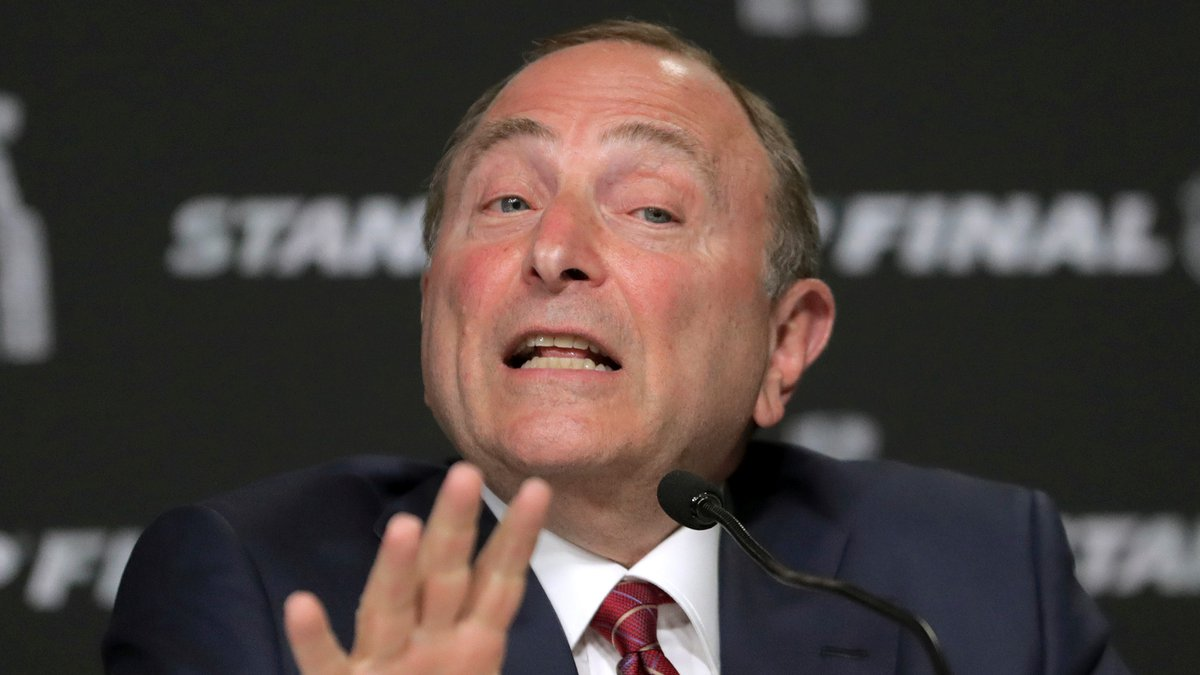 In this May 27, 2019, file photo, NHL Commissioner Gary Bettman speaks to the media before Game...