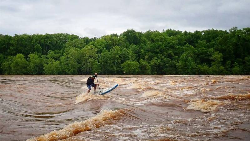 Guillermo Loria paddleboarding along the James River. (Source: Guillermo Loria)