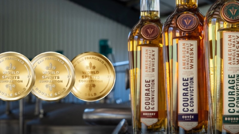 Virginia Distillery Company brought home three gold medals.