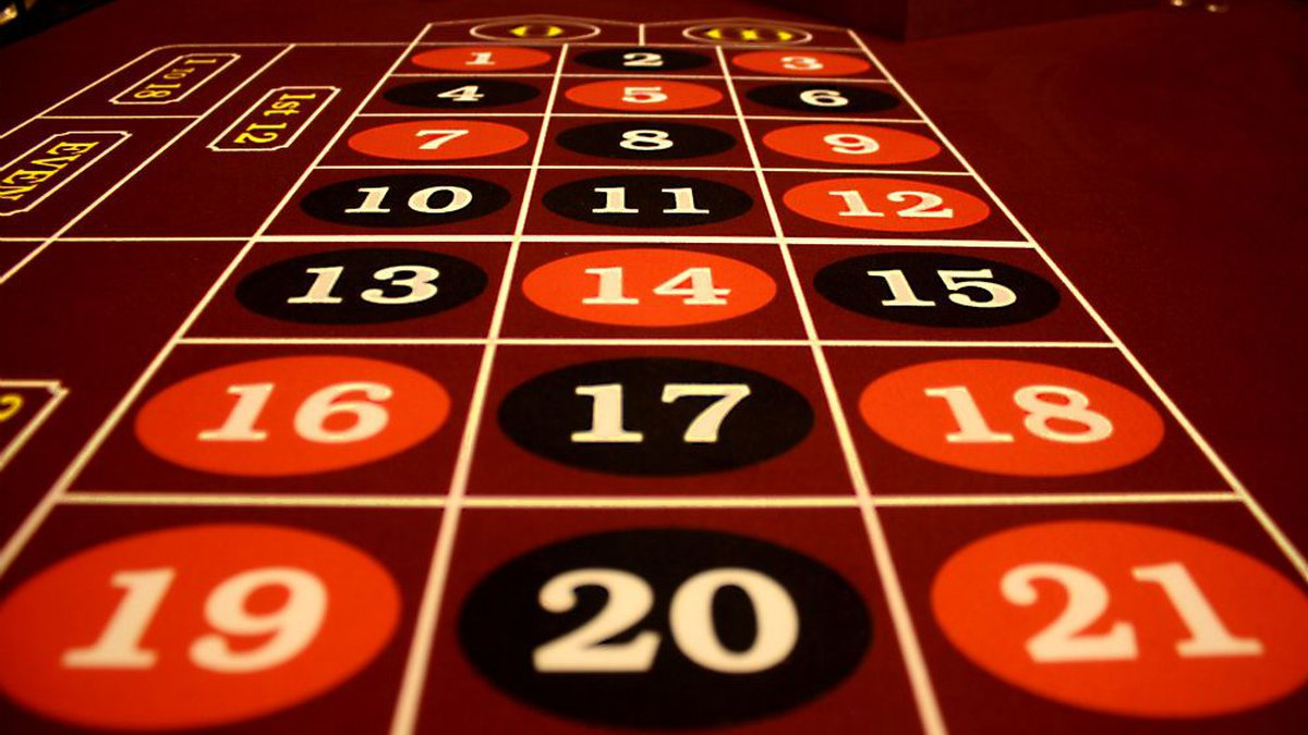A close up of a roulette table.