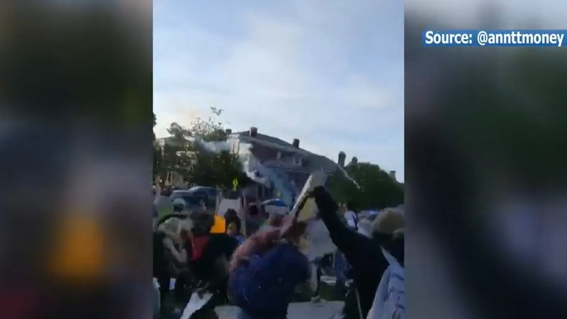 Photo from a video showing tear gas being deployed on protesters.