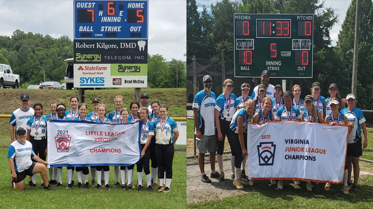 Two Chesterfield Little League softball teams have won state titles.