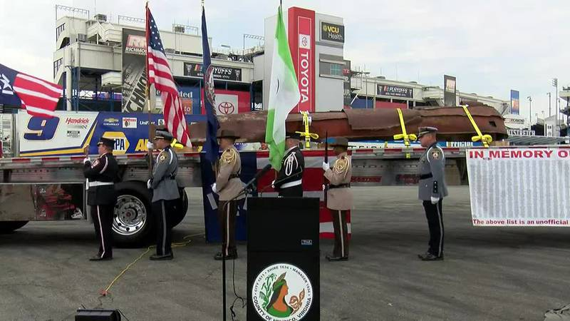 Steel beam from World Trade Center on display at Richmond Raceway