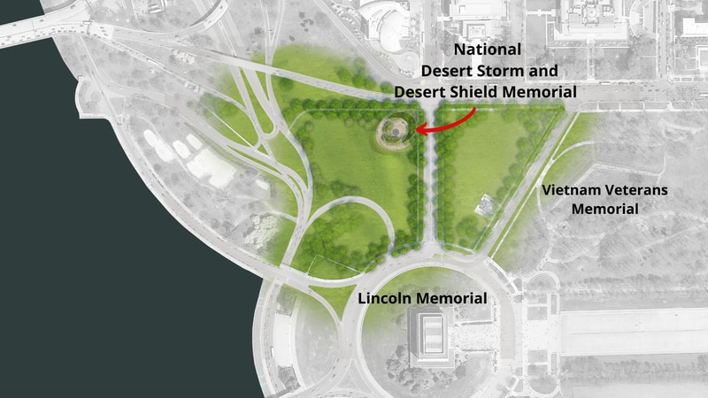 The proposed National Desert Storm and Desert Shield Memorial will be located near the Vietnam...