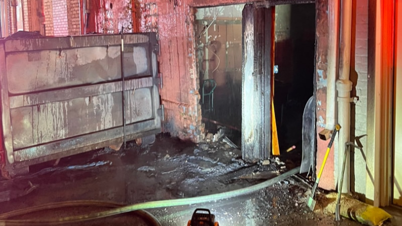 Crews located a dumpster that was on fire in an alley behind 109 East Broad Street.